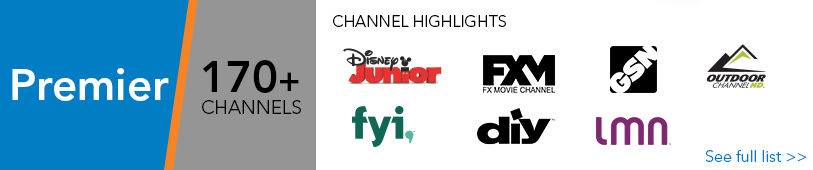 Premier TV - 170+ channels. Click here for full list.
